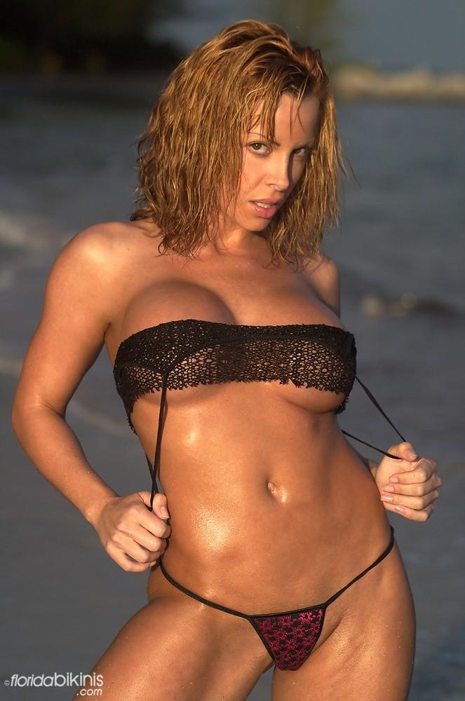 Ava Cowan Purple Metallic Thong Bikini Tweet Bikinis